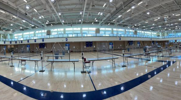 testing stations span the four-court gymnasium in the ARC at UC Davis