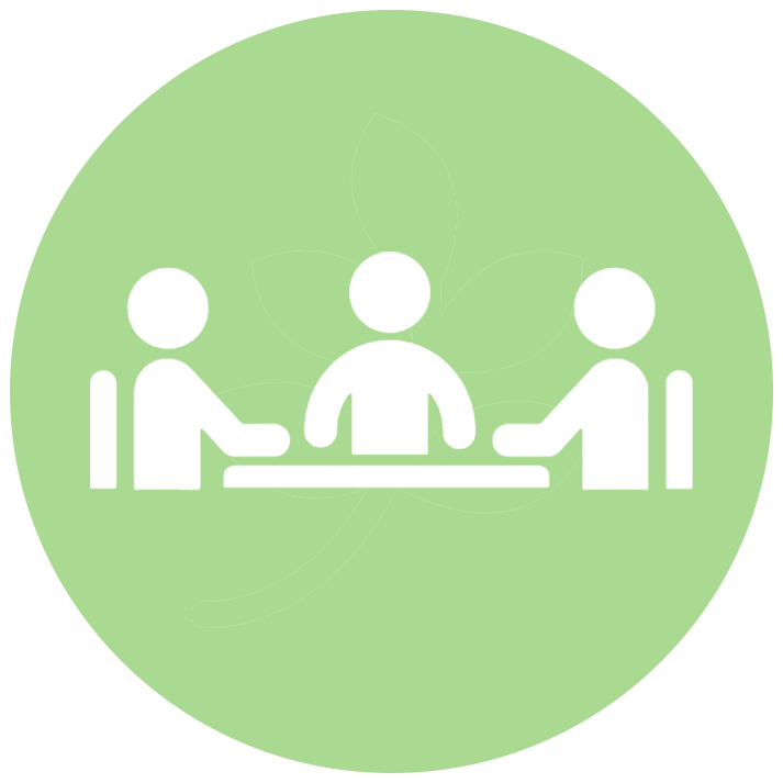 vector icon of three people around a table