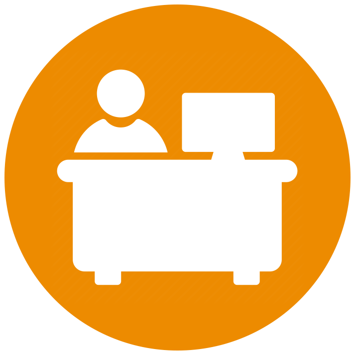 vector icon for an employee at a desk